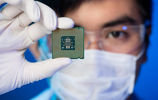 stock image, microchip and engineer